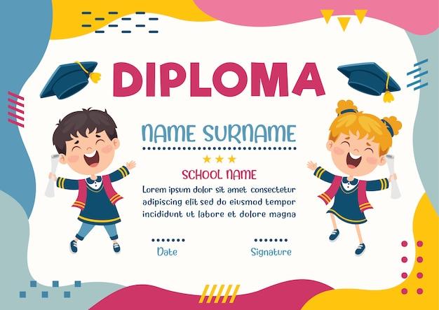 Certificat de diplôme pour les enfants d'âge préscolaire et élémentaire