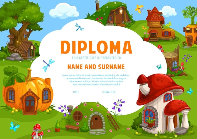 Certificat de diplôme pour enfants conception d'illustration de maisons naines de conte de fées