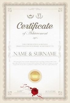Certificat ou diplôme rétro vintage