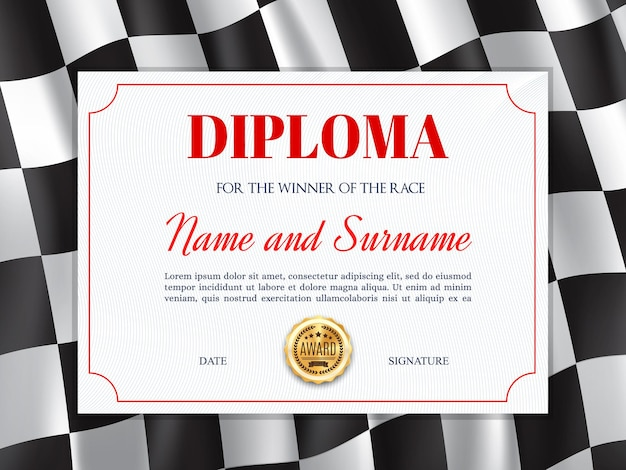 Certificat de diplôme de vainqueur de course avec cadre de fond de drapeau de course