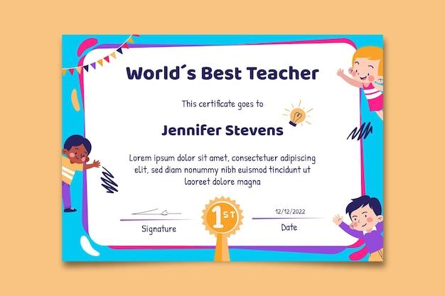 Certificat d'école du meilleur enseignant créatif comme un enfant