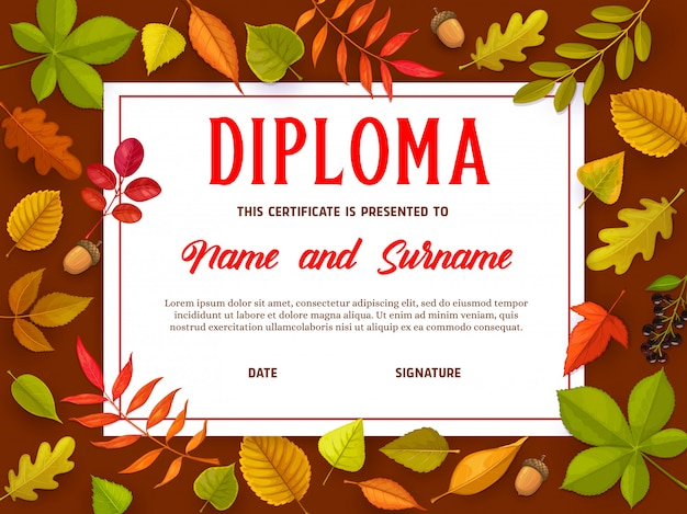 Certificat d'éducation avec des feuilles d'automne, diplôme