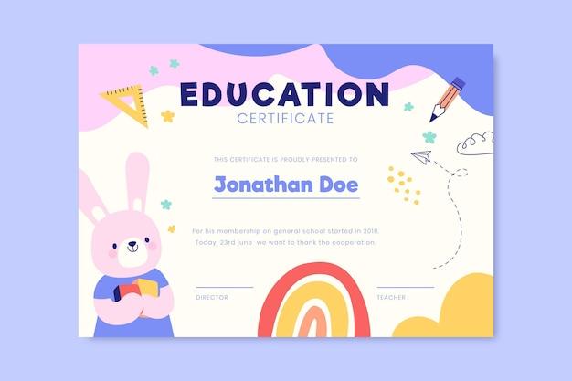 Certificat d'éducation pastel mignon