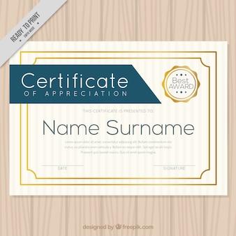 Certificat élégant avec bordure dorée