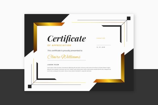 Certificat élégant de couleur dégradé