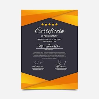 Certificat élégant dégradé avec étoiles
