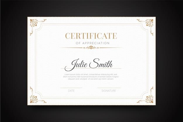 Certificat élégant avec modèle de cadre