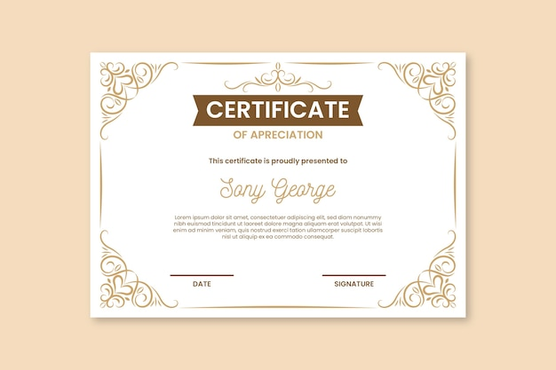 Certificat élégant avec des ornements dorés