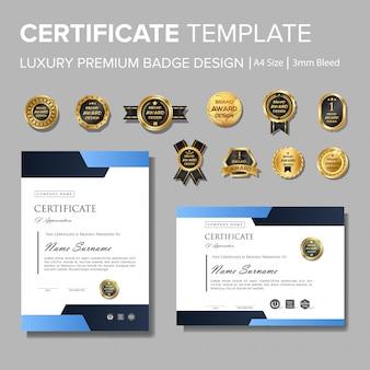 Certificat d'entreprise bleu moderne avec badge