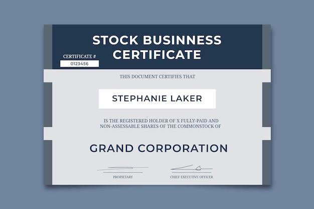 Certificat d'entreprise professionnel simple medit stock