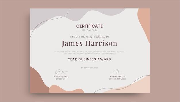 Certificat d'entreprise de récompense simple abstrait