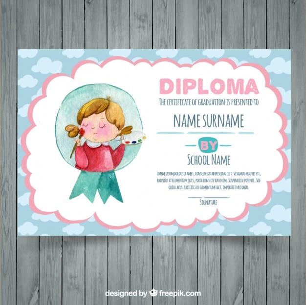 Certificat d'études décoratif peint à l'aquarelle