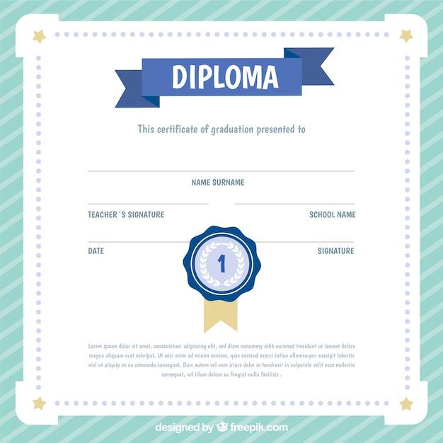 Certificat d'études fantastique pour les enfants avec cadre rayé