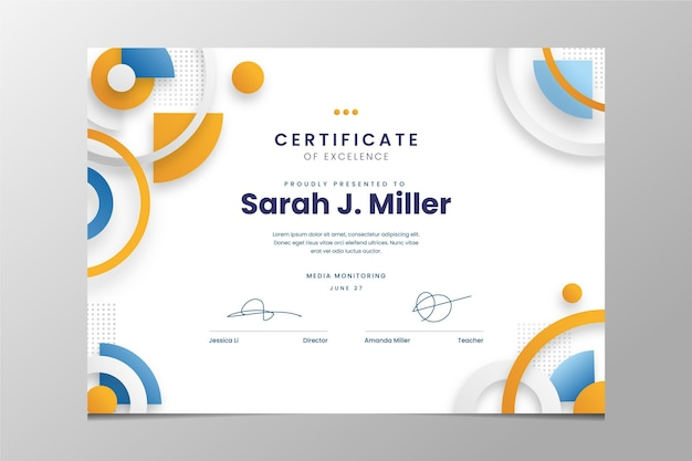 Certificat d'excellence moderne