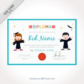 Certificat de fin d'études pour les enfants avec cadre bleu