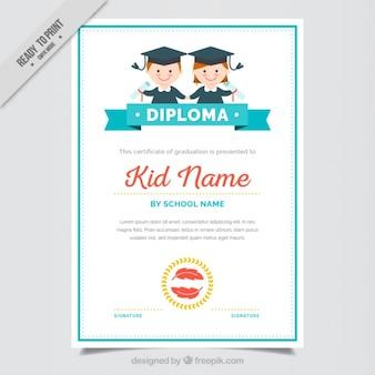 Certificat de fin d'études pour les enfants avec des détails bleus