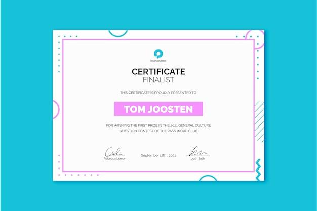 Certificat de finaliste du concours memphis duotone