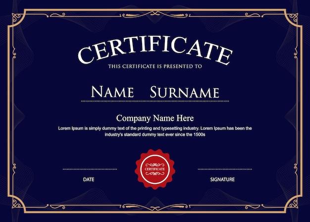 Le certificat fleurit le modèle de bordure élégante