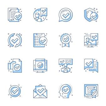 Certificat, garantie de documents juridiques icônes linéaires définies.
