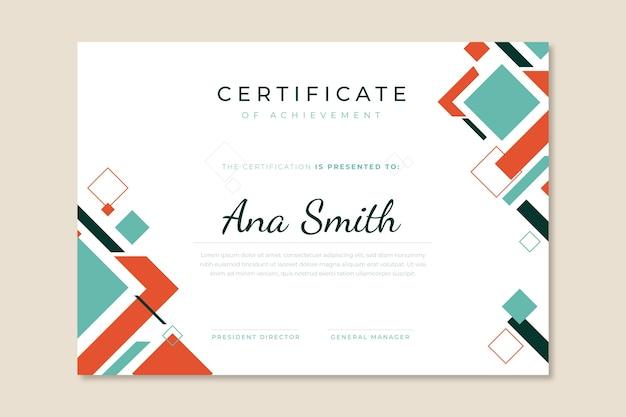 Certificat géométrique moderne abstrait