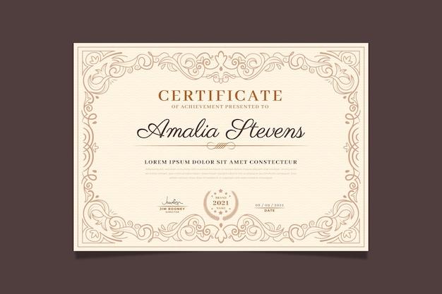Certificat de gravure ornementale