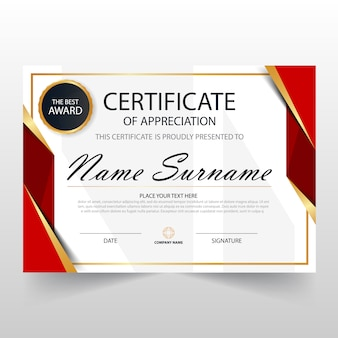 Certificat horizontal rouge ELegant avec illustration vectorielle