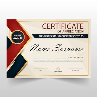 Certificat horizontal rouge noir elegant avec illustration vectorielle