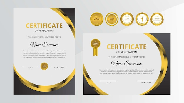 Certificat de luxe dégradé doré et noir avec jeu d'insignes en or pour récompenser les affaires et l'éducation
