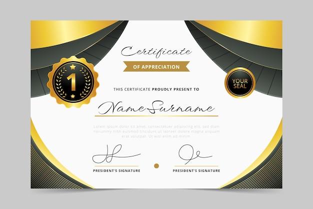 Certificat de luxe doré réaliste
