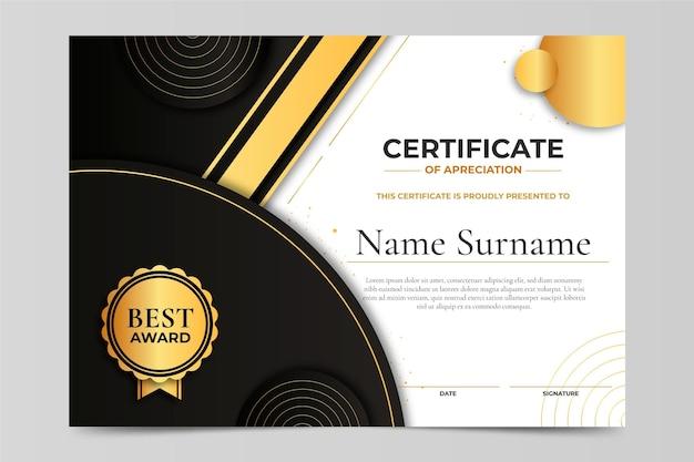 Certificat de luxe doré