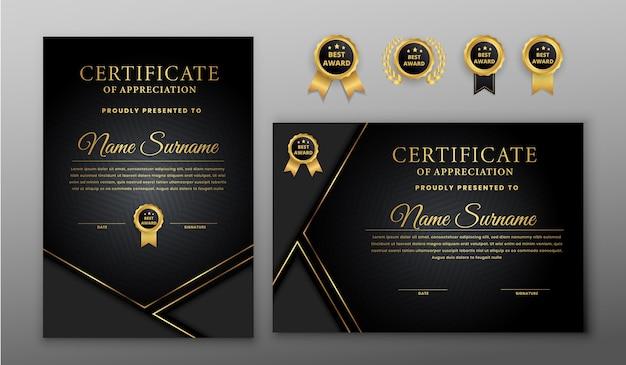 Certificat de luxe avec insigne or et noir et modèle de bordure