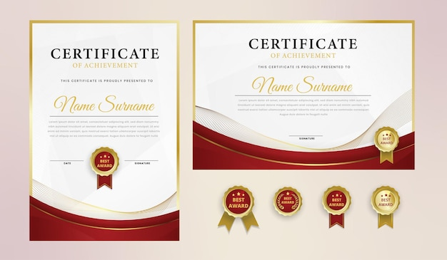 Certificat de luxe en or rouge avec badge et modèle de bordure