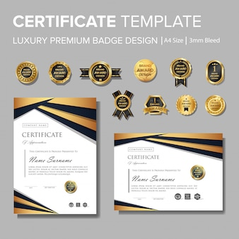 Certificat de luxe professionnel avec badge