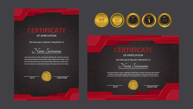 Certificat de luxe rouge doré dégradé avec jeu d'insignes en or pour les besoins des entreprises et de l'éducation