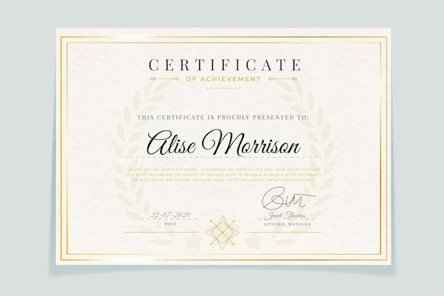 Certificat de modèle élégant avec cadre