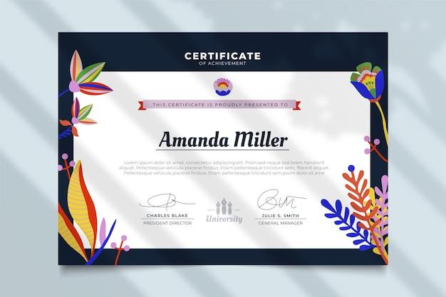 Certificat avec modèle de feuilles