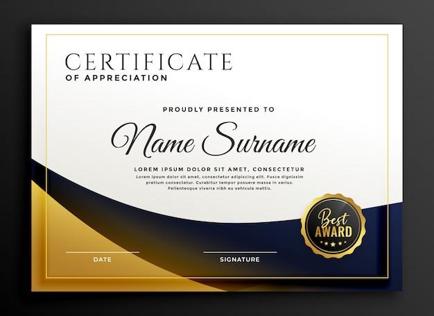 Certificat de modèle de récompense en style doré