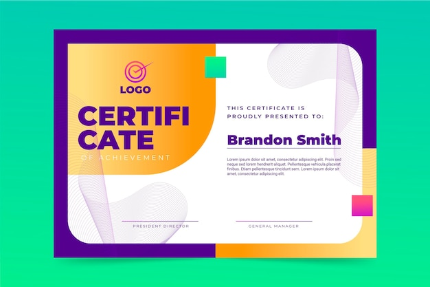 Certificat moderne dégradé