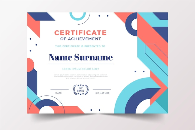 Certificat moderne de design plat