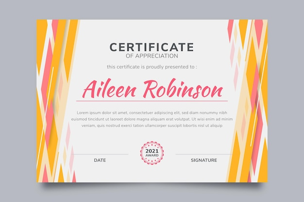 Certificat moderne design plat