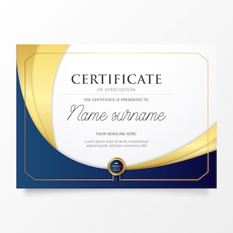 Certificat moderne avec des formes dorées élégantes