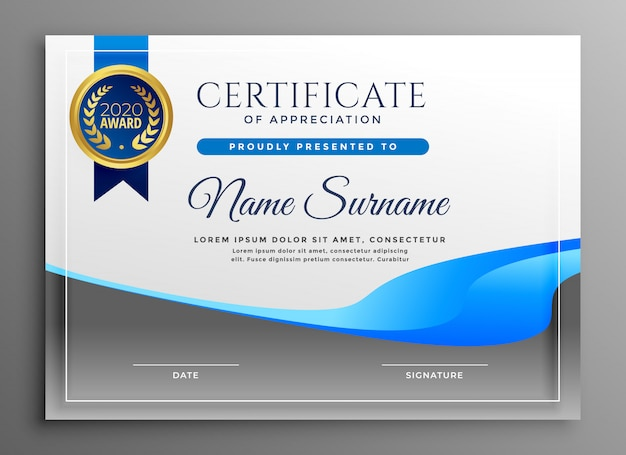 Certificat moderne de modèle d'appréciation