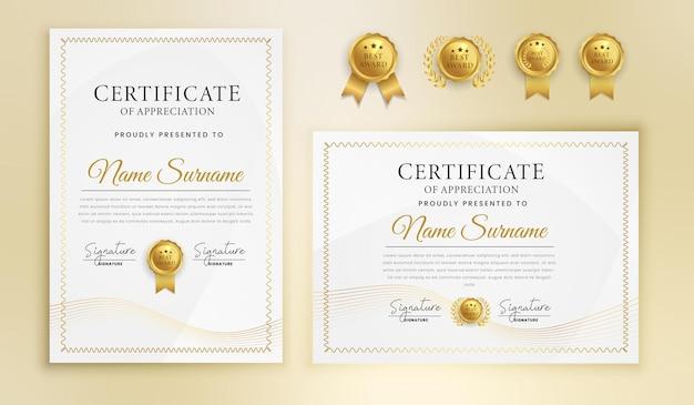Certificat Moderne En Or Et Lignes Ondulées Avec Badges Vecteur Premium