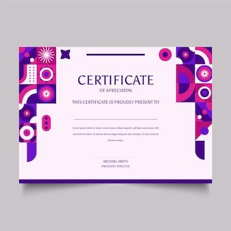 Certificat de mosaïque plate