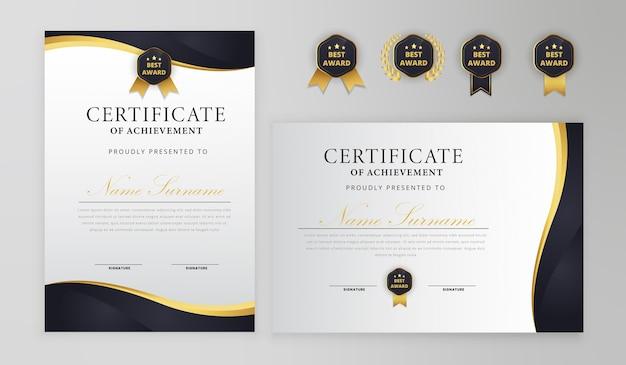 Certificat noir et or avec badge et modèle de vecteur de bordure a4