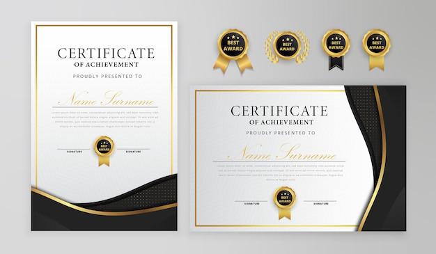 Certificat noir et or avec badges et modèle de bordure