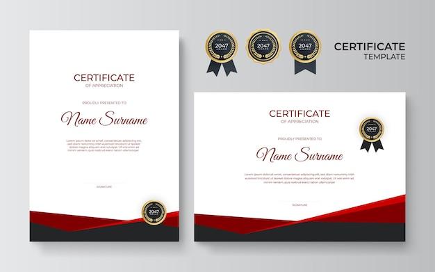 Certificat noir rouge moderne. modèle de certificat d'appréciation, couleur rouge et noire. certificat moderne propre avec badge or. modèle de bordure de certificat avec motif de ligne de luxe et moderne.