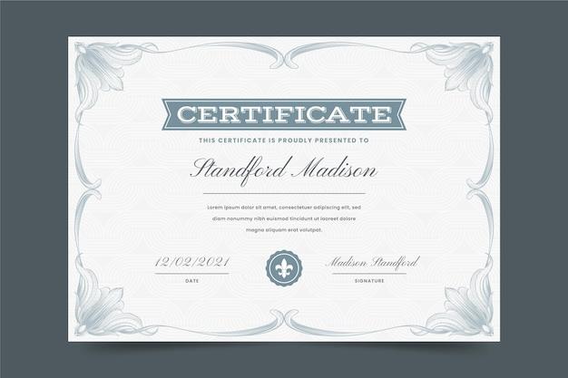 Certificat ornemental dessiné à la main de gravure