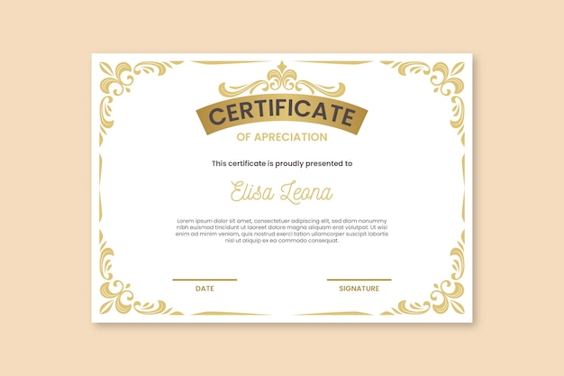 Certificat avec des ornements dorés élégants