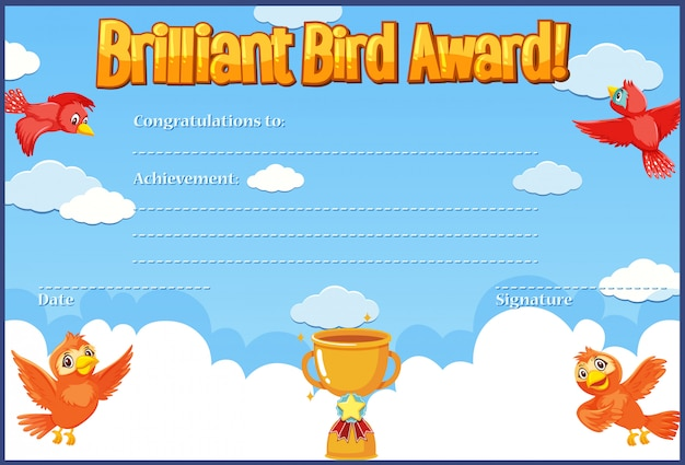 Certificat pour une récompense brillante avec des oiseaux volant